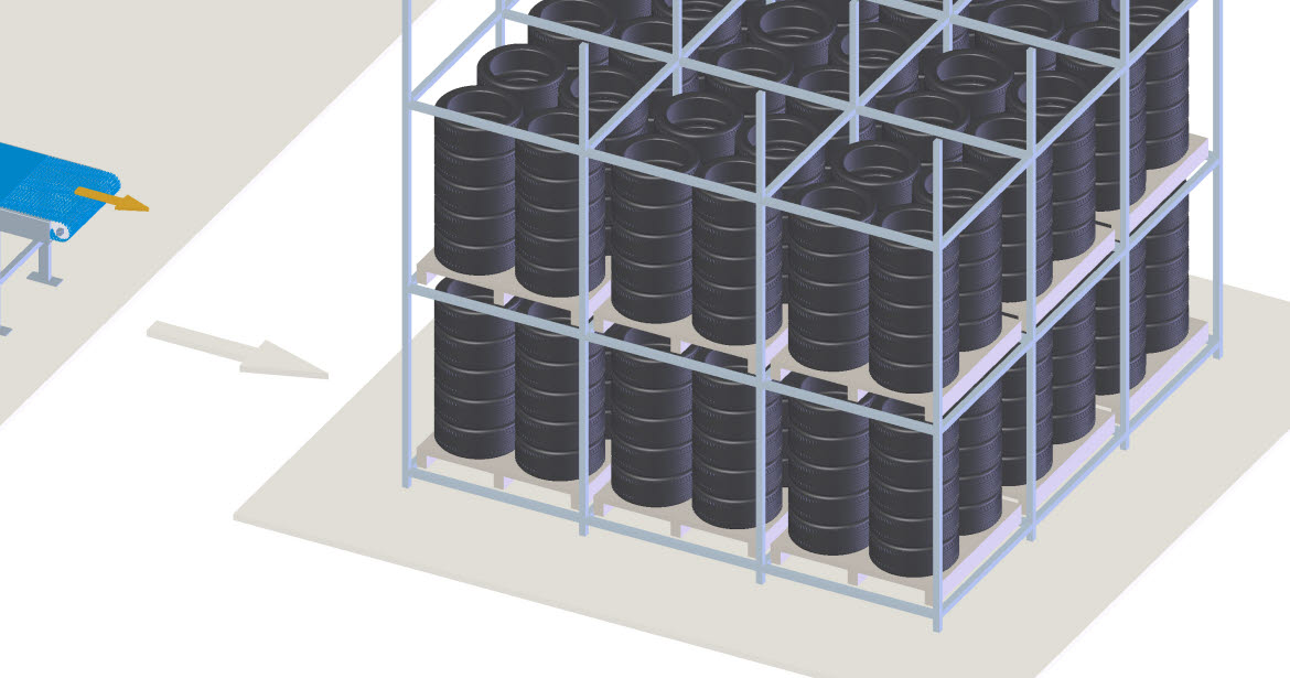 Finished tires need to be stored (short term) before they are transported to the hubs of the sales channels. This storage has a demand of intralogistics where conveyor belts are often used. To quickly load and unload trucks it is common to use telescopic loading systems.