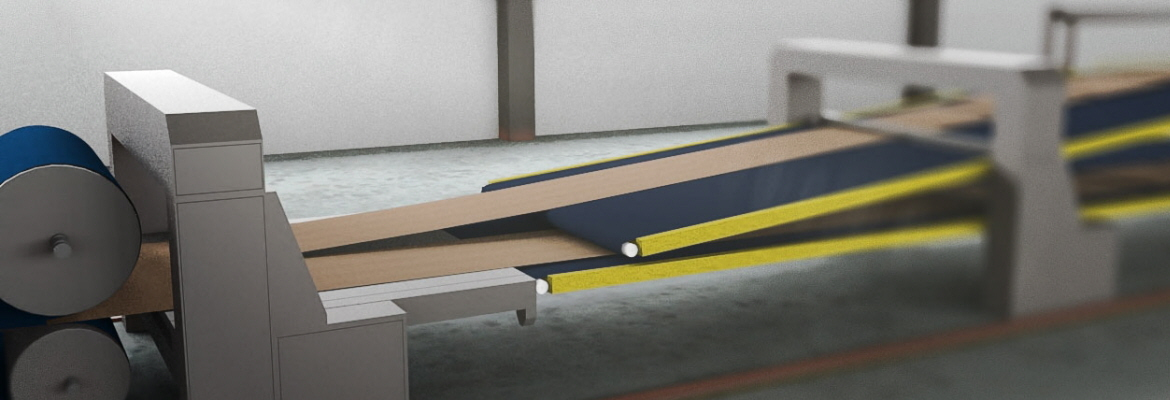 This process involves precise product positioning onto and downstream break conveyor belt; perforated, friction-resistant and wear-resistant belts and vacuum-system slider beds are used for faultless sheet control.