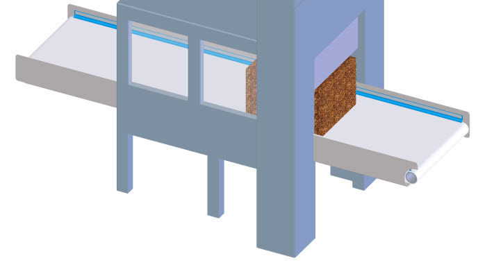 Big tobacco blocks are cut into slices by an automated guillotine system. This operation may take place on a belt or it may occur between two belts.