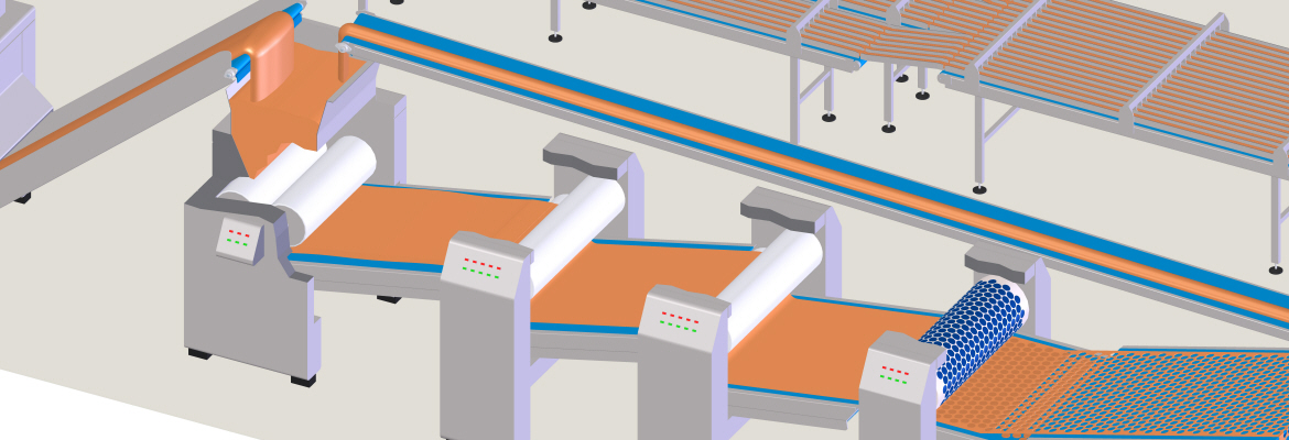 This process step, which ensures regular dough thickness, requires high-quality belt performance for a smooth transfer between the lamination stations.