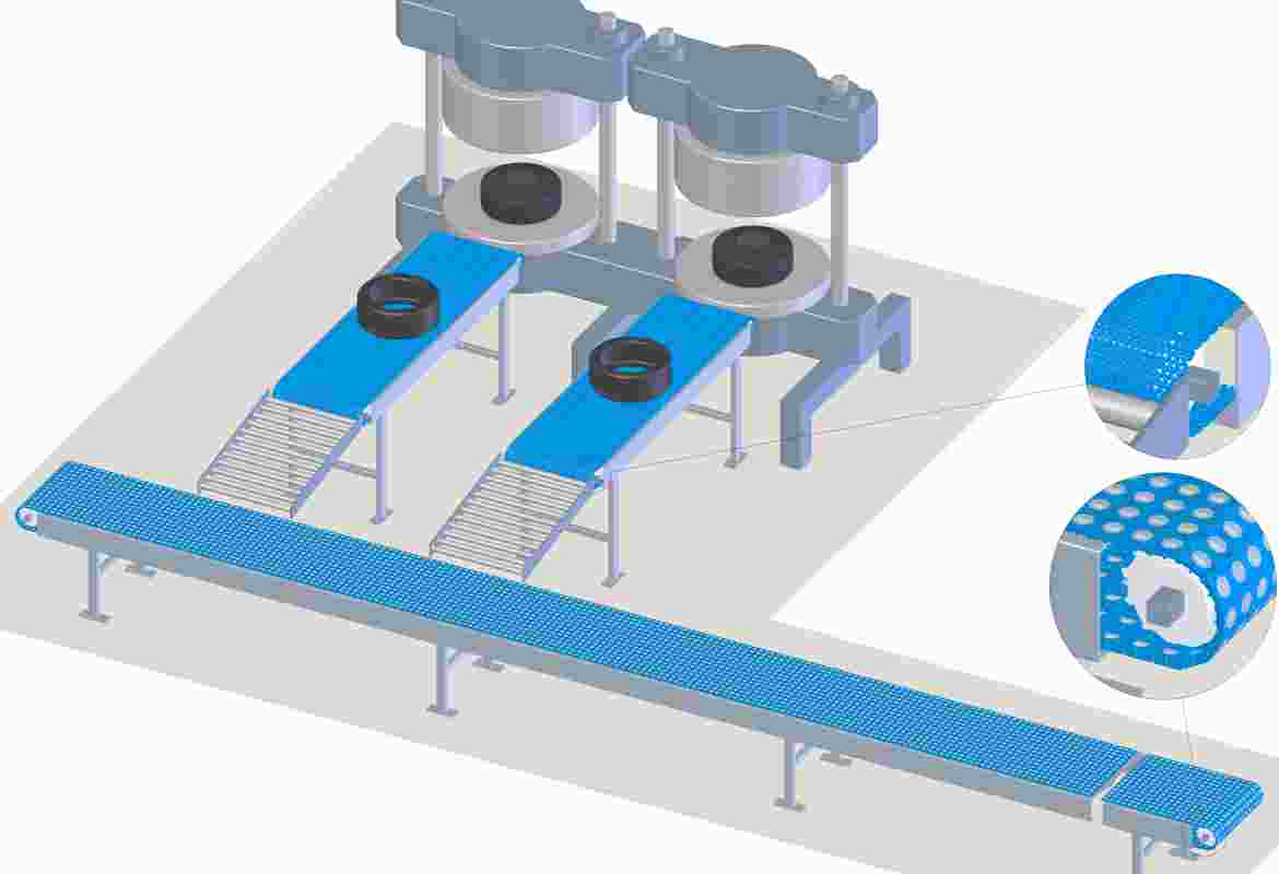 Curing is the process of applying pressure to the green tyre in a mould in order to give it its final shape, and applying heat energy to stimulate the chemical reaction between the rubber and other materials. After the tyres are cured in the press, they are often cooled down on a conveyor belt and then transported to the trench line (collector line).