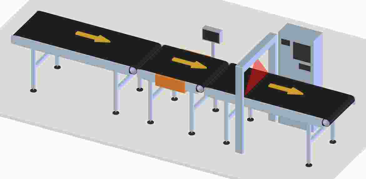 A number of conveyors are used in the system to check weight, dimensions & labels (bar codes) of the parcels.