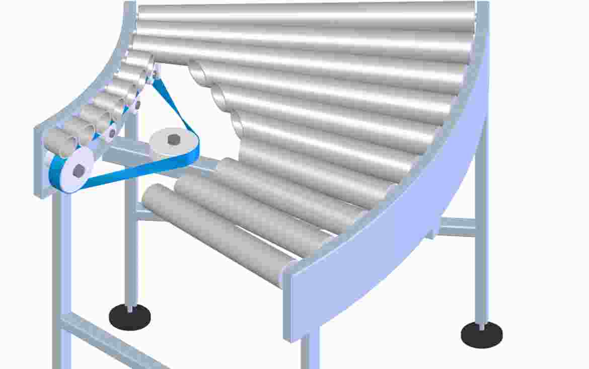 A flat belt drives the conical carrying rollers at the inner radius. Since a flat belt cannot be bent into a curve across its lateral cross section.